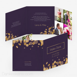 Dankeskarte Purple Gold 14.5 x 14.5 cm Wickelfalz