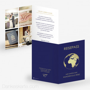 Dankeskarte Reisepass Globus 10 x 15 cm