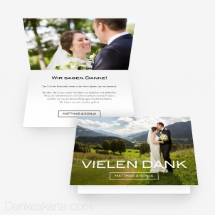 Dankeskarte Schlicht Schön 15 x 10 cm Vertikalklappkarte