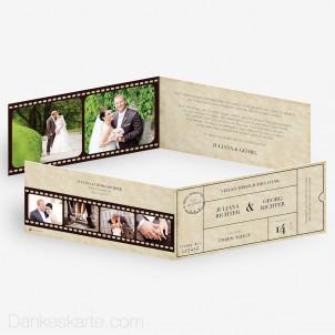 Dankeskarte Theater Ticket 21 x 10 cm Klapp