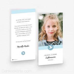 Kommunionskarte Poetisches Blau 10 x 21 cm
