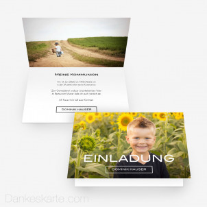 Kommunionskarte Schlicht Schön 15 x 10 cm Vertikalklappkarte