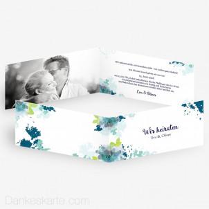 Hochzeitseinladung Aquarellblumen 21 x 10 cm