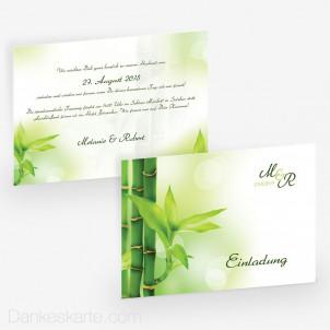 Hochzeitseinladung Bambus 21 x 15 cm