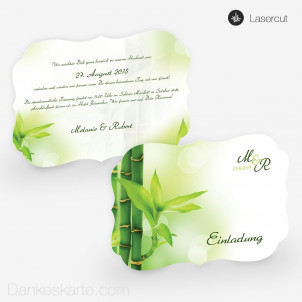Lasercut-Einladung Bambus 21 x 15cm Ornament