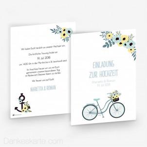 Hochzeitseinladung Bicycle Love 15 x 21 cm