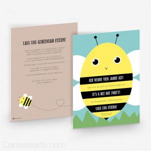 Geburtstagseinladung Biene 15 x 21 cm