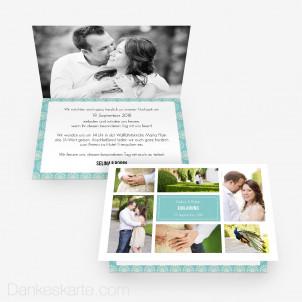 Hochzeitseinladung Bildermeer 15 x 10 cm Vertikalklappkarte