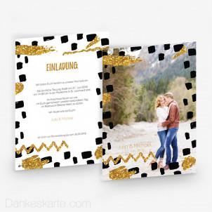 Hochzeitseinladung Black and Gold 15 x 21 cm