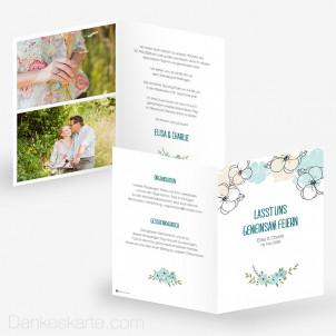 Hochzeitseinladung Blühende Phantasie 15 x 21 cm
