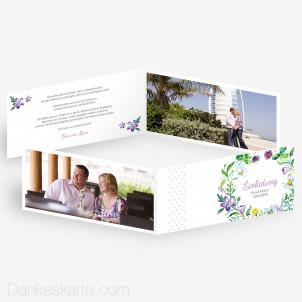 Hochzeitseinladung Blumendekor 21 x 10 cm