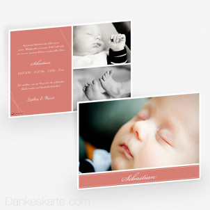 Geburtskarte Dashed Line 21 x 15 cm