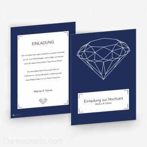 Hochzeitseinladung Diamant 15 x 21 cm