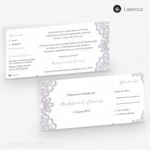Hochzeitseinladung Einsame Spitze Ticket 21 x 10 cm