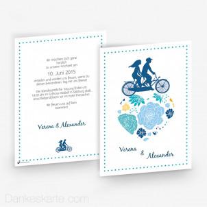 Hochzeitseinladung Fahrrad 15 x 21cm