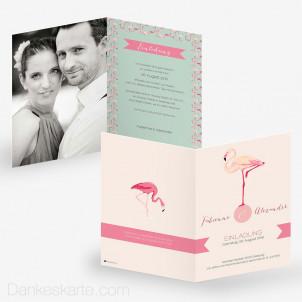 Hochzeitseinladung Flamingo 15 x 21 cm