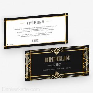 Hochzeitseinladung Gatsby 21 x 10 cm