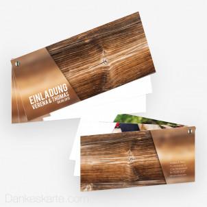 Hochzeitseinladung Schraubenkarte Glas und Holz 21 x 10 cm
