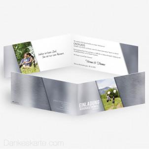 Hochzeitseinladung Glas und Metall 2 21 x 10 cm