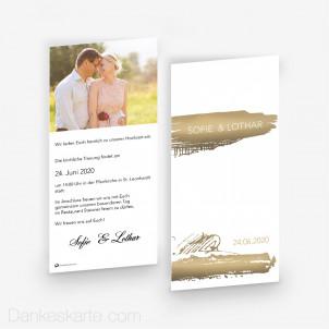 Hochzeitseinladung Gold Brush 10 x 21cm