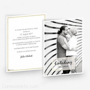 Hochzeitseinladung Golden Border 15 x 21cm