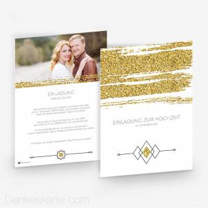 Hochzeitseinladung Golden Glitter 15 x 21 cm