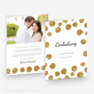 Hochzeitseinladung Goldschimmer 1 15 x 21 cm