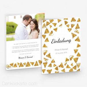 Hochzeitseinladung Goldschimmer 2 15 x 21 cm