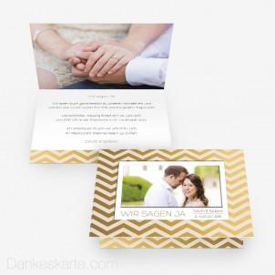 Hochzeitseinladung Goldstück 15 x 10 cm Vertikalklappkarte