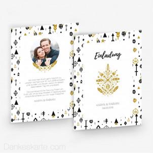 Hochzeitseinladung Goldzauber 15 x 21 cm