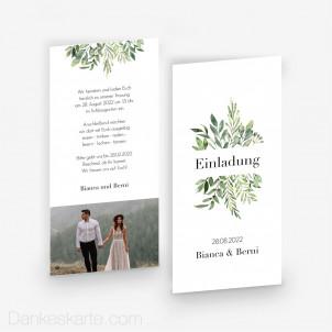 Hochzeitseinladung Greenery 10 x 21 cm