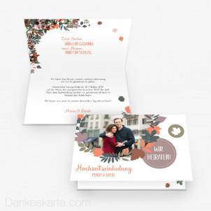 Hochzeitseinladung Herbstlaub 15 x 10 cm Vertikalklappkarte