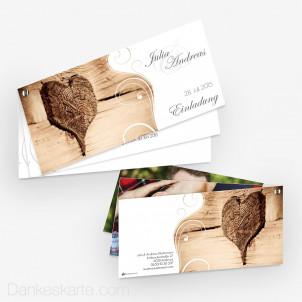 Hochzeitseinladung Schraubenkarte Imago Holzherz 21 x 10 cm