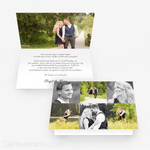 Hochzeitseinladung In Szene gesetzt 15 x 10 cm Vertikalklappkarte