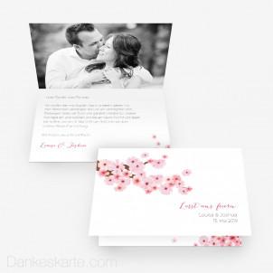 Hochzeitseinladung Kirschblüten 15 x 10 cm Vertikalklappkarte