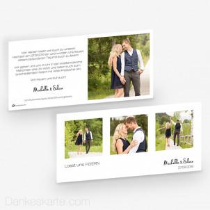 Hochzeitseinladung Klares Design 21 x 10 cm