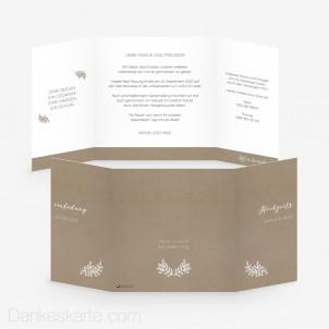Hochzeitseinladung Kraftpapier Eleganz 14.5 x 14.5 cm Fensterfalz