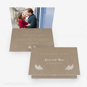 Hochzeitseinladung Kraftpapier Eleganz 15 x 10 cm Vertikalklappkarte