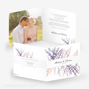 Hochzeitseinladung Lavendel Zweige 14.5 x 14.5 cm