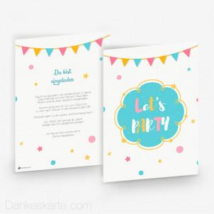 Geburtstagseinladung Let's Party 15 x 21cm