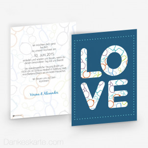 Hochzeitseinladung Love 15 x 21cm