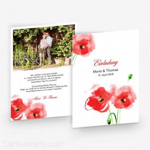 Hochzeitseinladung Mohnblumen 15 x 21 cm