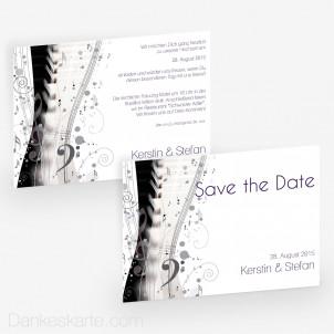 Hochzeitseinladung Music Sheet 21 x 15 cm