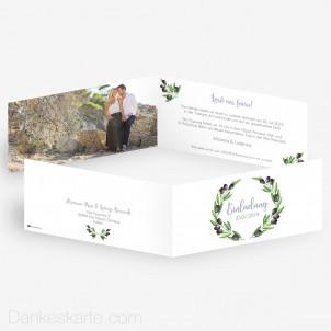 Hochzeitseinladung Olivenzweige 21 x 10 cm