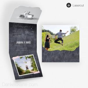 Lasercut-Einladung Ornament Chalkboard 14.5x40cm