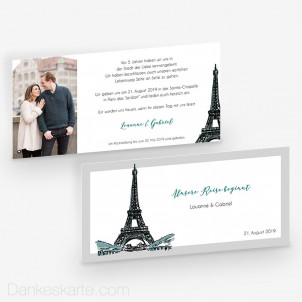 Hochzeitseinladung Pariser Chic 21 x 10 cm