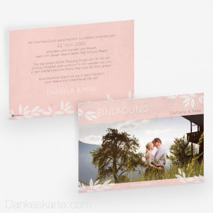 Hochzeitseinladung Pink Blossom 21 x 15cm
