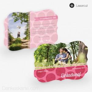Lasercut-Einladung Pink Bubbles 21 x 15cm Ornament