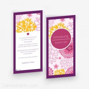 Hochzeitseinladung Pink Flowers 10 x 21 cm