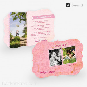 Lasercut-Einladung Pink Stamp 21 x 15cm Ornament